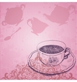 Vintage background with tea cup vector image