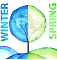 winter and spring watercolor concept seasonal vector image