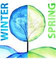 winter and spring watercolor concept seasonal vector image