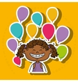 girl balloons party cartoon vector image