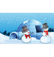 an igloo and snowmen vector image vector image