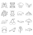Nature items icons set outline style vector image