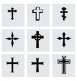 black crosses icon set vector image