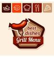 grill menu emblem vector image vector image
