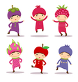 Cute kids in fruit costumes Set 2 vector image