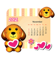 november dog calendar vector image vector image