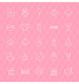 Baby and Toys Line Icons Set over Polygonal vector image