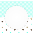 Blue greeting card with hearts vector image