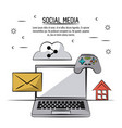 colorful poster of social media with icons mail vector image