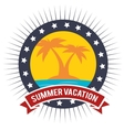 vacation badge palm tree beach graphic vector image