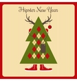 hipster a Christmas tree with accessories vector image vector image
