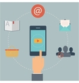 Set of flat design web icons for mobile phone vector image