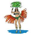 Brazilian in carnival costume vector image