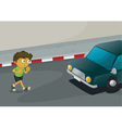 Boy crossing road vector image vector image