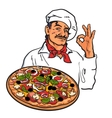 Sketch of smiling Italian chef holding pizza in vector image