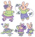 Bunnies for children set 1 of 2 vector image