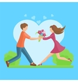 Affection Young couple flat style vector image