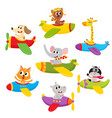 cute little baby animal pet characters flying on vector image