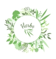 Green round frame with collection of plants vector image