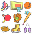 sport equipment cartoon style doodle vector image