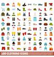 100 clothing icons set flat style vector image