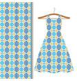 dress fabric with blue geometric mosaic vector image