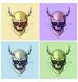 Hipster skulls pop art vector image