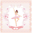 Beautiful ballerina - abstract card with pink vector image