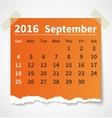 Calendar september 2016 colorful torn paper vector image