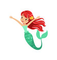 cute red-haired mermaid girl isolated on white vector image