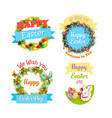 easter eggs and rabbit cartoon symbol set design vector image