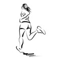 Line sketch of a running woman vector image