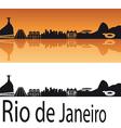 Rio de Janeiro skyline in orange background vector image