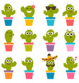 set of cute cactuses vector image vector image