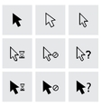 black cursor icon set vector image