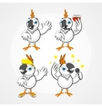 White funny hilarious parrot in different poses vector image vector image