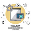 colorful poster of social media with tablet device vector image