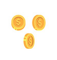 gold coins with dollar sign isolated on white vector image