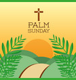 palm sunday cross hills sun branch card decoration vector image