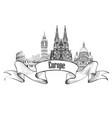 travel europe label famous landmark buildings vector image
