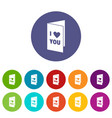 happy valentines day or weeding card icons set vector image