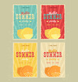 set of retro summer holiday posters travel and vector image