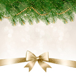 Christmas background with branches of tree and bow vector image vector image