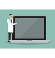 Doctor pointing to the screen of a laptop vector image