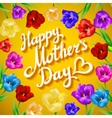 Beautiful bouquet of colorful tulips and card on vector image
