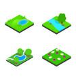 green land icon set isometric style vector image