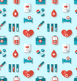 Seamless Pattern with Flat Medical Icons vector image