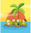 Kids on an island vector image vector image