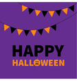 Triangle paper flags Happy Halloween Lettering vector image