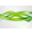 Bright green grunge waves design vector image vector image